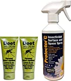 2 x 60ML Deet Personal Insect Repellent Cream 34% with 500ml Protector C