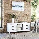 Kehra Meuble TV/D'appoint - Bois - 120x40x50 cm - Couleur Blanc Winter