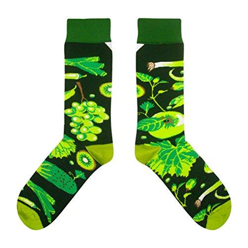 CUP OF SOX - Früchte/Trauben/Salat/Vegan Socken - Socken in der Pappbecher - Herren und Damen Geschenksocken Socken, Grün, 37-40