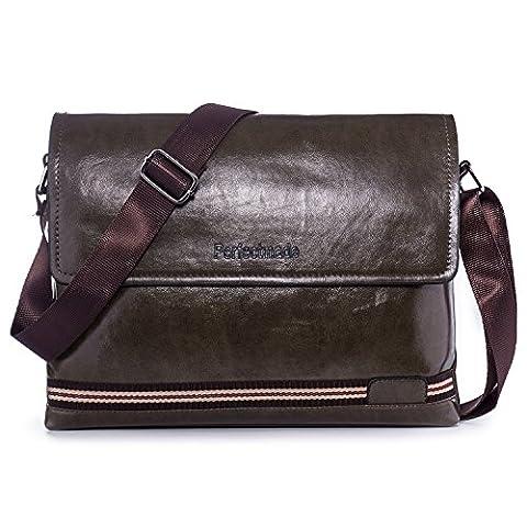 Hengwin Vintage PU Leder Herren Umhängetasche Messenger Bag Schultertasche für Arbeit Geschäft Urlaub Passt iPad Mini/iPad Air (Dunkel Grün)