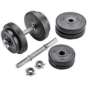 GORILLA SPORTS Kurzhanteln 2er Set Kunststoff 20kg / 30kg – Hantelstangen, Gewichte und Sternverschlüsse gerändelt 30/31mm