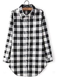 Vococal® Des Femmes Casual Revers Chemise à Carreaux Manches Longues Top Chemisier T Shirt Robe