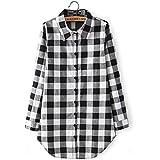 Solapa Casual Camisa Cuadros Blusa de Manga Larga para Mujer,Color Negro + Blanco XL