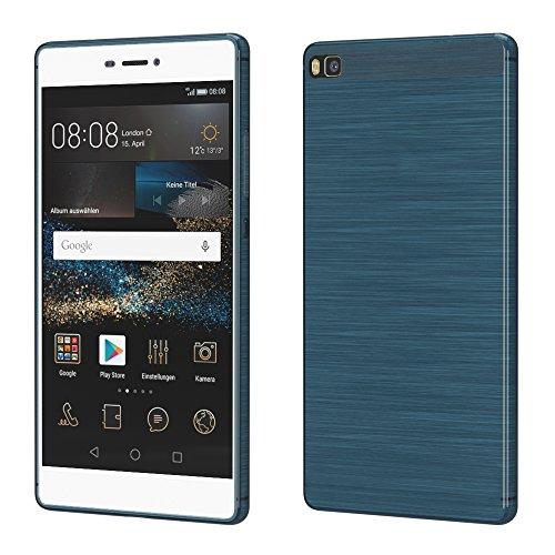 Brushed Cover für Huawei P8 Schutz Hülle TPU Case Schutzhülle Silikon Cover Tasche in Dunkelblau