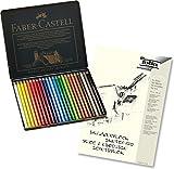 Faber-Castell 110024 - Künstlerfarbstift POLYCHROMOS, 24er Metalletui + hochwertiger A4 Skizzenblock
