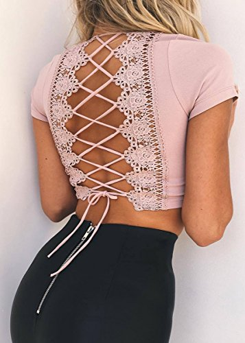 BLACKMYTH Donna Cinghia Pizzo V-Collo Cross Back Moda Lace Up Maniche Corte Corto Top Rosa