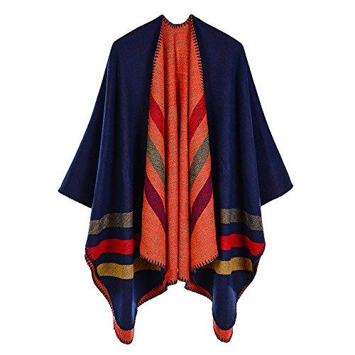 Trim Knit Cardigan (ZUZHEN Women es Shawl Golden Trim Knit Blanket Wrap Fringe Poncho Coat Cardigan,A)