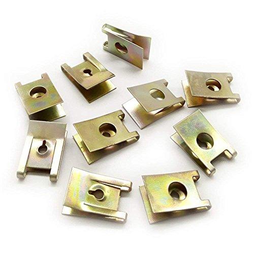 Preisvergleich Produktbild CNIKESIN 50Pcs Auto Metal Plate Screw U-Type Clips Speed Nuts for Car Panel Fender 3mm Hole Dia