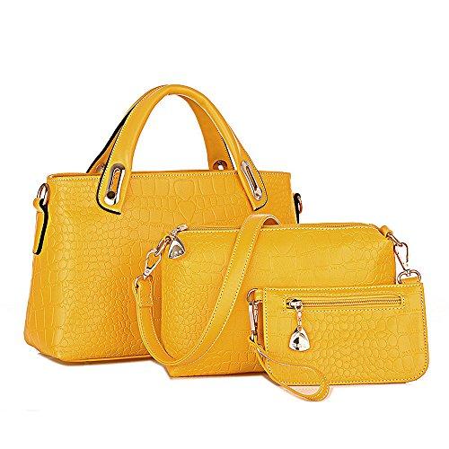 ESAILQ Un conjunto de bolsas de hombro bolso y la cartera de cuero para damas (amarillo)