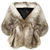 Coucoland Kunst Pelz Schal Damen Flauschig Faux Pelz Umschlagtuch Warm Kragen für Wintermantel 1920s Accessoires Gatsby Kostüm Zubehör (Kamel - Small)
