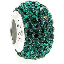 Queen Berry Clip de perla colgante plata de ley piedra natal, redondo color verde cristal para pandora, Troll pulsera puede