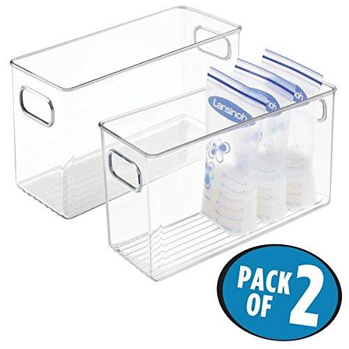 mDesign 2er-Set Kunststoffbox für Babynahrung – hoher Aufbewahrungsbehälter mit 2 Fächern und Griffen – praktische Sortierbox für Muttermilchbeutel aus BPA-freiem Kunststoff – durchsichtig