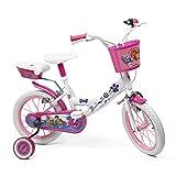 Denverbike Bicicletta Bambina Paw Patrol - Bici Bimba 14' con Rotelle Pedali catarifrangenti e Campanello - Bianco e rosa - 4/7 anni (Modello Base)