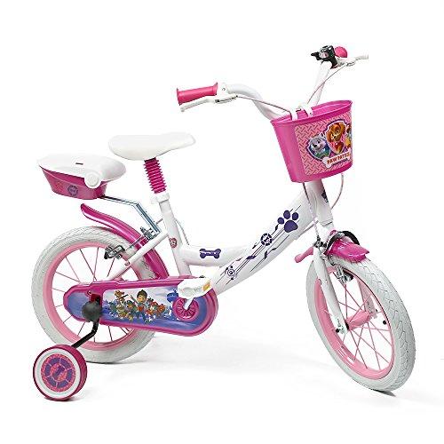 """Denver Bicicleta para Niña Paw Patrol - Bici 14"""" con Ruedas de Apoyo Pedales con Reflectores y Campanilla - Blanco y rosa - 4-7 Años (Modelo Básico)"""