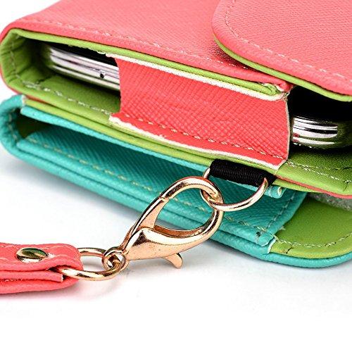 Kroo d'embrayage portefeuille avec dragonne et sangle bandoulière pour Sony Xperia T2Ultra dual Multicolore - Noir/gris Multicolore - Rouge/vert