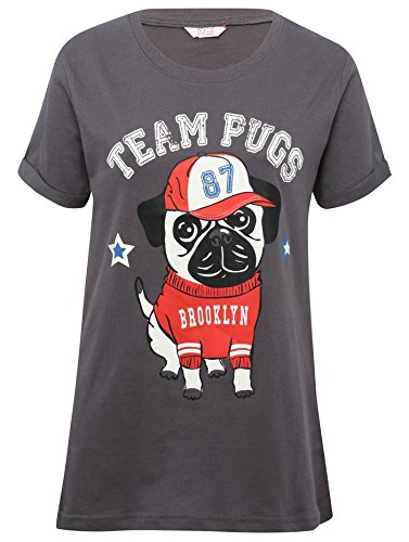 MCo-Teen-Girl-Short-Sleeve-Team-Pug-Pull-On-Cotton-Mix-And-Match-Pyjamas-Sleepwear-T-Shirt