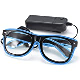 SOLMORE EL Wire Drahtbrille Leuchten Brille LED Leucht Sonnenbrille Partybrille mit Batterie Box...