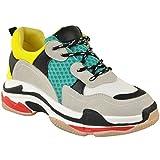 Damen Sneaker - Dicke Plateausohle in 3 Farben - Klobiger Stil - Grau Nubuk-Imitat - EUR 36