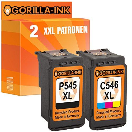 Gorilla-Ink Set 2X Tintenpatrone XXL remanufactured für Canon PG-545 XL & CL-546 XL Pixma IP2800 Series IP2850 MG2400 Series MG2440 MG2450 MG2540 MG2550S MG2555S MX495 MX490 Series