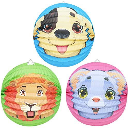 com-four® 3X Kinder Laterne aus Papier inverschiedenen Tier-Motiven [Auswahl variiert], Lampion für Kinder, Ø 25 cm