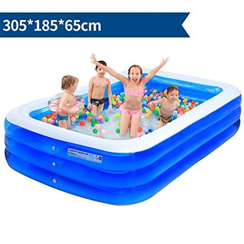 YUGNG Espesar a los Niños Adultos de PVC ecológicos Bañarse y Nadar Plegable Hinchable Cuadrado Grande Grupo de Piscina de Juguete Familiar 305 * 185 * 65cm para 7-9 Personas