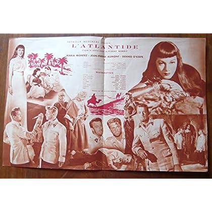 Dossier de presse de L'Atlantide (1950) – 31x47cm - Film de Gregg G. Tallas avec M Montez, J. P. Aumont – Photos sépia marron – résumé scénario – Bon état.