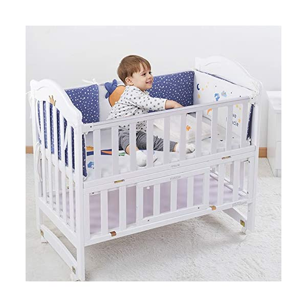 VBARV Multifunctional cradle bed-three-in-one stitching large bed solid wood crib, pine oversized children's play bed, bedroom furniture suitable for children aged 0-12 VBARV Non-toxic environmental protection material, no sharp fixing device, external dimensions are 125x72x104cm. Side-open fence, drowsy, easy to care for babies and able to hug in and out; can be spliced   into a large bed for easy feeding. The bed has four positions and is adjustable in height. The bed can be turned into a playground, cradle bed, sofa, desk, and is a multifunctional bed. Easy to clean and maintain: The surface of the crib can be wiped with a damp cloth to remove dust or dirt from the surface. 5