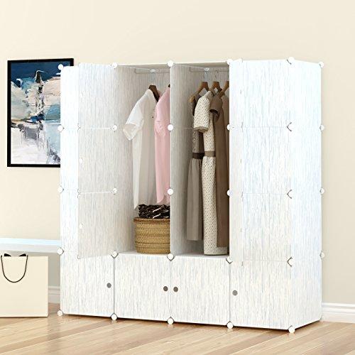 PREMAG Kleiderschrank aus Kunststoff-Modulen zur Aufbewahrung von Kleidung, Accessoires, Spielzeug, Handtüchern oder Büchern. Für Zuhause oder Büro. Fertig in grünem Holzstil mit feinen Adern (16 Würfel)