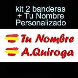 Vinilin Pegatina Vinilo Bandera España + tu Nombre - Bici, Casco, Pala De Padel, Monopatin, Coche, Moto, etc. Kit de Dos Vini