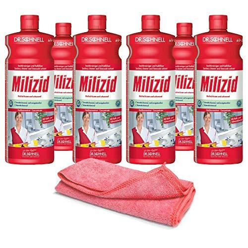 6x 1,0 L Sanitärreiniger - Kalklöser - WC Entkalker - Urinsteinlöser | inkl. hochwertigen Profi-Microfasertuch Rot