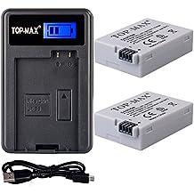 TOP-MAX® 2 paquetes LP-E8 Reemplazo Batería Rercargable + USB Cargador para Canon LP-E8 y Canon EOS 550D 600D 650D, Rebel T2i T3i T4i T5i