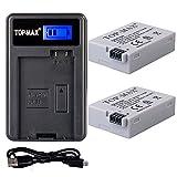 TOP-MAX® 2x LP-E8 Akku + USB Ladegerät mit LED Anzeige zu Canon EOS 700D 650D 600D 550D T2i T3i T4i X4 X5 X6 --mit Micro USB Anschluss