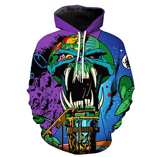 Anime Schädel Unisex lustige 3D Hoodies Sweatshirts Harajuku Hip Hop Pullover XXXL (Cosplay Anime Para Halloween)