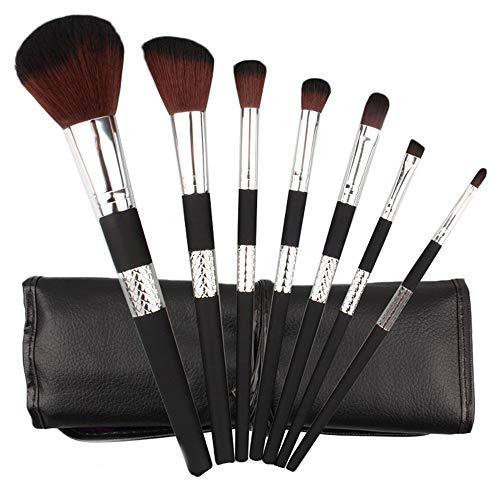 POachers pinceaux maquillage kits 7 pcs synthétique doux pochette en cuir PU brosse cosmétique ombre à paupière doré blush fondation