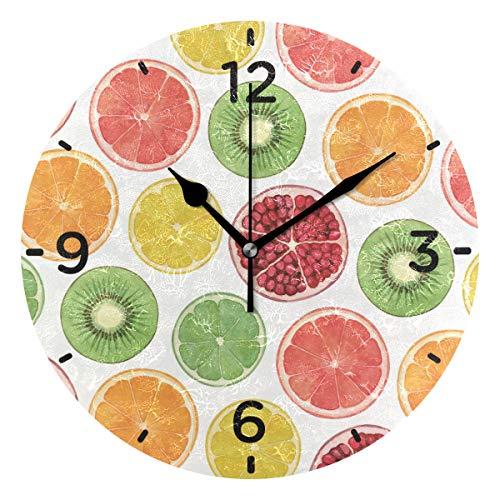 SENNSEE Wanduhr, Bunte Sommerfrüchte, batteriebetrieben, dekoratives Wohnzimmer, Küche, Schlafzimmer, Kunst rund für Zuhause - Funktioniert Granatapfel