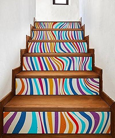HJMTRY Autocollant mural Autocollant imperméable à l'eau Stripes colorées Staircase Paste 18 * 100 cm * 6 pièces