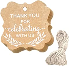 ULTNICE Kraft Paper Gift Tags Printing Thank You for Celebrating with Us Craft Hanging Tag with String for DIY Gift Wrapping Wedding Party Favors 100PCS