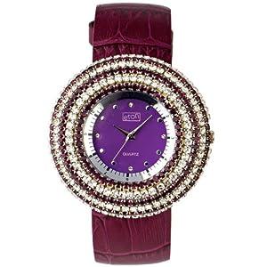 Eton 2980J-PL – Reloj analógico para Mujer de Cuero Violeta