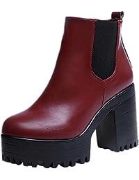 FEITONG Mujer Botas Cuadrado Tacón plataformas Cuero Muslo Bomba Botas Zapatos