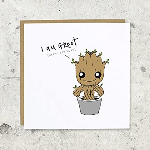 I am Groot Birthday Greeting Card | Marvel, Guardians of the Galaxy, Baby Groot | Blank, Funny,