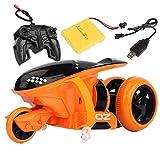 Y-star Moto Electrica Infantil, RC Motocicleta Control Remoto, 2.4GHz RC Motocicleta Moto para Niños Niños, Deriva de Acrobacias, Rueda giratoria de 90 °, Efectos de iluminación geniales, Azul,Orange