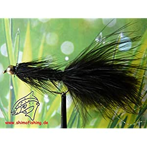 "Streamer "" Wooly Bugger Black Bead Head "" 3er Set Hakengröße 6"