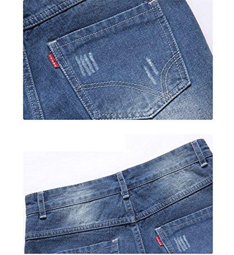 Mirecoo Herren Denim Jeans Kurze Shorts Sommer 5-Pocket Stil Hellblau