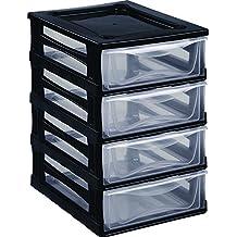 Hega Multi-Combi Set de Cajoneras, Negro, 35.5 x 26.5 x 39.5 cm, 4 Unidades