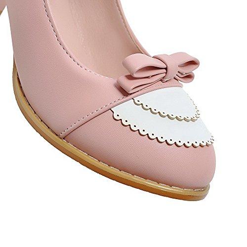 VogueZone009 Femme Pu Cuir Couleurs Mélangées Boucle Rond à Talon Correct Chaussures Légeres Rose