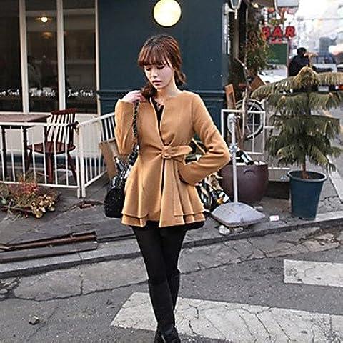 PU&PU Caldo addensare collare rotondo cappotto di tweed di YYH donne , camel , one-size