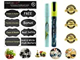 Chalkboard Labels Bundle - 56 Premium Quality Vinyl Blackboard Stickers Kit Includes FREE BONUS : White Liquid Chalk Marker and Gold Liquid Chalk Marker -All in One Set Ideal for Kitchen, Office ,Garden, Crafts, Weddings & More. Removable, Erasable & Entirely Customizable! Best Bundle Available