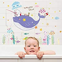 QWEDSA Whale Fish Living Room Nursery Bathroom Removable Self-Adhesive Vinyl Tile Glass Wall Stickers Decals Decor Mural