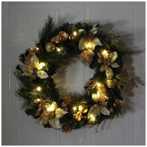 colore: rame//oro illuminata da 20 LED WeRChristmas Ghirlanda natalizia decorativa luce bianca calda diametro: 60 cm
