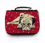 Waschtasche Waschbeutel Kulturbeutel Kosmetiktasche Reisewaschtasche cosmeticbag Mops Hund rot weiß gepunktet wt056